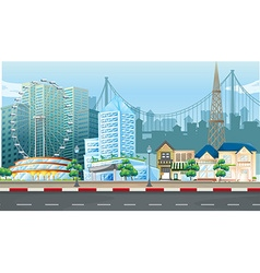 City scene with ferris wheel and buildings vector