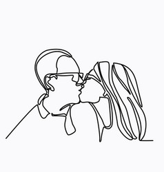 continuous line drawing of kissing couple a man vector image