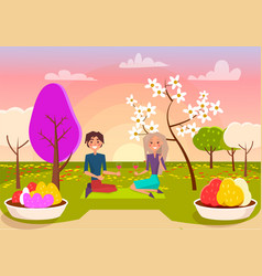 couple has picnic with wine at park vector image