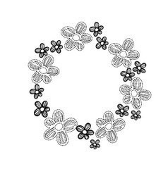 dotted shape circle rustic flowers with petals vector image vector image