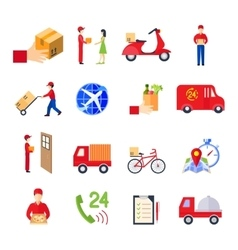 Flat delivery icon set vector