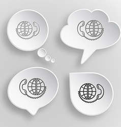 Global communication white flat buttons on gray vector