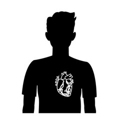 Heart on the silhouette of a man anatomy vector