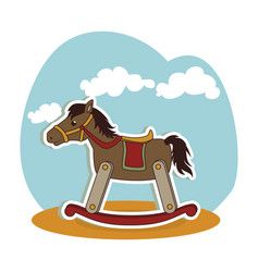 horse wooden baby toy icon vector image