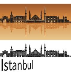 Istanbul skyline in orange vector image