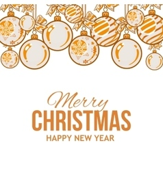 Orange Christmas balls with ribbon and bows vector image vector image