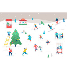 People having fun at christmas vector