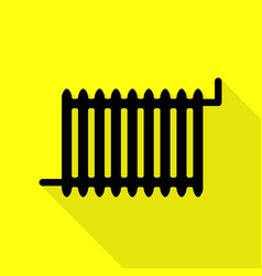 radiator sign black icon with flat style shadow vector image