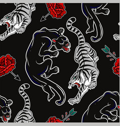 Seamless pattern with wild cats tiger and panther vector