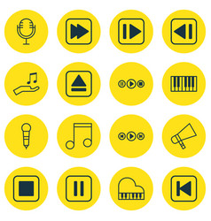 Set of 16 audio icons includes mute song last vector