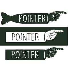 Set of black and white pointers with a human hand vector
