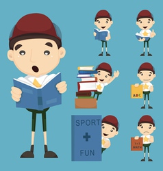 Set of boy learn vector image vector image