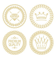 Set of linear badges - premium quality and best vector image vector image