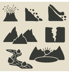 set of mountains icons vector image vector image