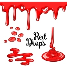 Set of red drops and blots isolated on white vector image vector image