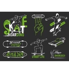 Set of skateboarding emblems logo and badges vector