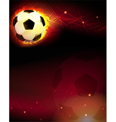 Soccer ball and trail of fire vector image