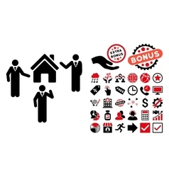 Realty discuss persons flat icon with bonus vector