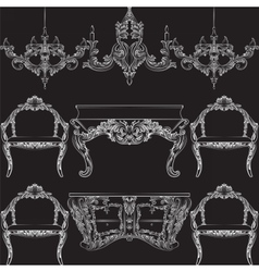 Fabulous rich baroque rococo furniture set vector