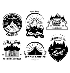 Outdoor camping labels set vector