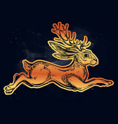 Jacalope magical creature running or jumping vector