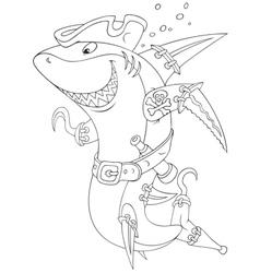 Shark pirate vector image