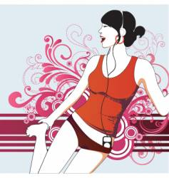 party girl with headphones vector image