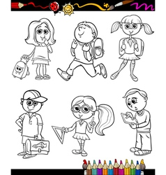 School kids group cartoon coloring book vector