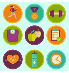 Set of fitness icons vector