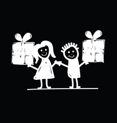Children with presents vector