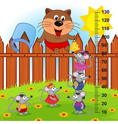 Cat on fence height measure vector