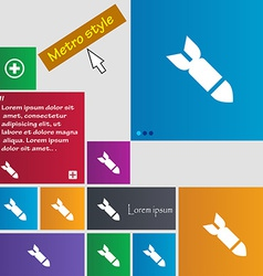 Missilerocket weapon icon sign metro style buttons vector