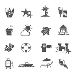 Beach icons black set vector