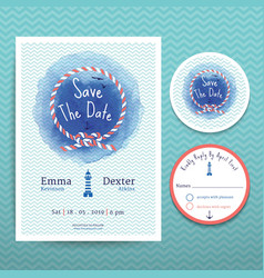Nautical rope water colour wedding invitation vector