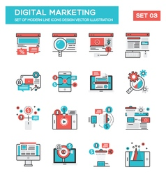 Modern flat line icon concept of digital marketing vector