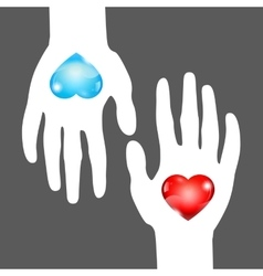 Hearts in hands vector