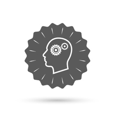 Head with gears sign icon male human head vector