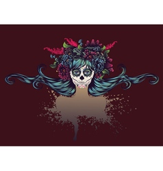 Sugar skull girl in flower crown12 vector