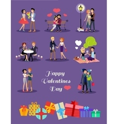 Happy valentine day couple set vector