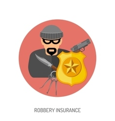 Robbery insurance flat icon vector