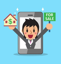Real estate broker agent and smartphone vector