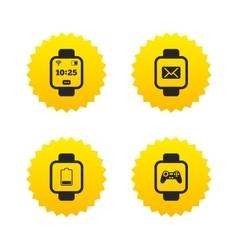 Smart watch icons wrist digital time clock vector