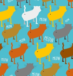 Ass cat seamless pattern homemade animal with tail vector