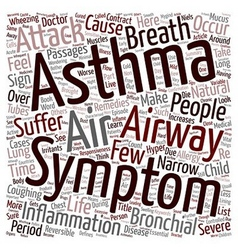 Asthma and its symptoms text background wordcloud vector