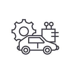 Automated car concept thin line icon vector