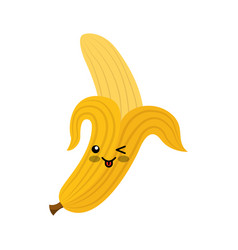 banana fresh fruit kawaii character vector image