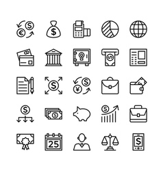 Banking and finance outline icons 5 vector