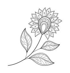 Beautiful Monochrome Contour Flower vector image vector image