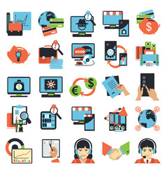 Business center icons vector
