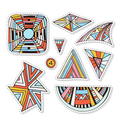 Colorful stickers set geometrical and ornamental vector